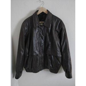 John Ashford Brown 100% Leather Bomber Jacket L
